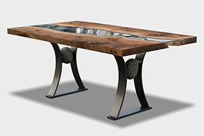 River run dining table by Live Edge Design - Cowichan, BC Artist